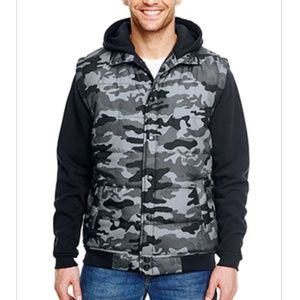 Mens Burnside Apparel Camo Puffer Vest Hoodie